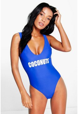Monaco Coconuts Scoop Back Slogan Swimsuit