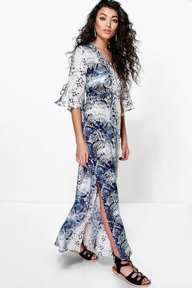 Freya Snake Print Maxi Beach Dress