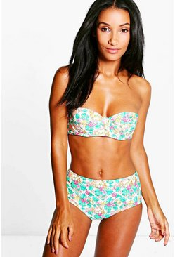 Vienna Tropical Flower High Waist Bikini