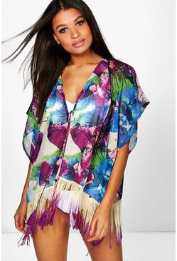 Scarlett Watercolour Fringed Kaftan
