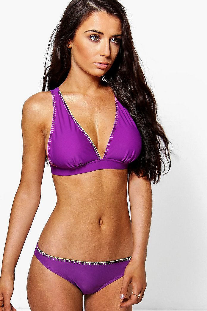Naples Neon Stitch Detail Triangle Bikini