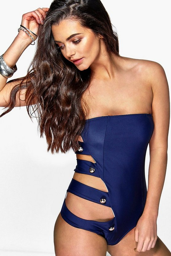 Panarea Cut Out Side Bandeau Swimsuit
