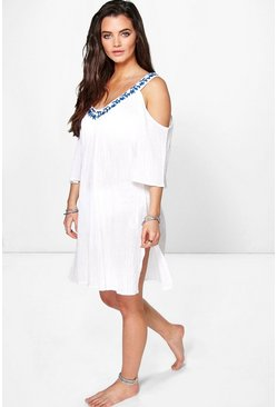 Hollie Embroidered Neck Cold Shoulder Beach Dress