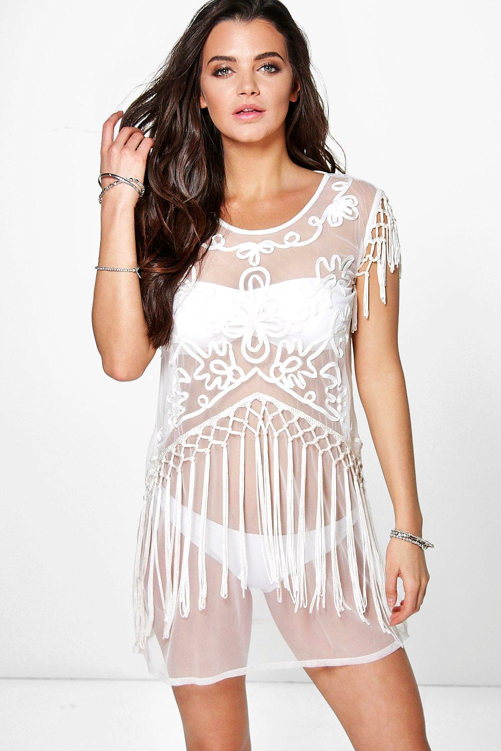Phoebe Boutique Ribbon Tassel Beach Cover Up