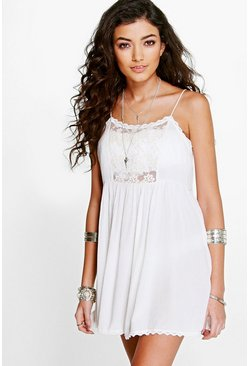 Lily Lace Panel Mesh Beach Dress