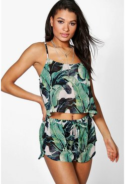Skye Leaf Print Beach Shell Top