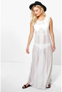 Icaria Boutique Crochet Column Maxi Beach Dress
