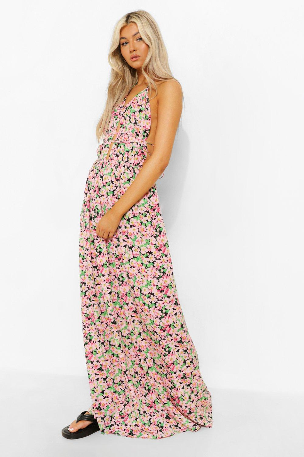 Boohoo Tall Floral Plunge Front Maxi Dress