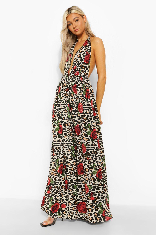 Boohoo Tall Leopard Rose Halter Plunge Maxi Dress