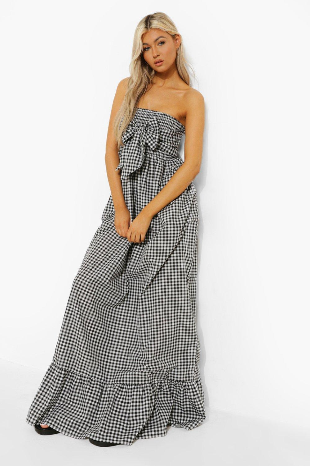 Boohoo Tall Gingham Knot Front Maxi Dress