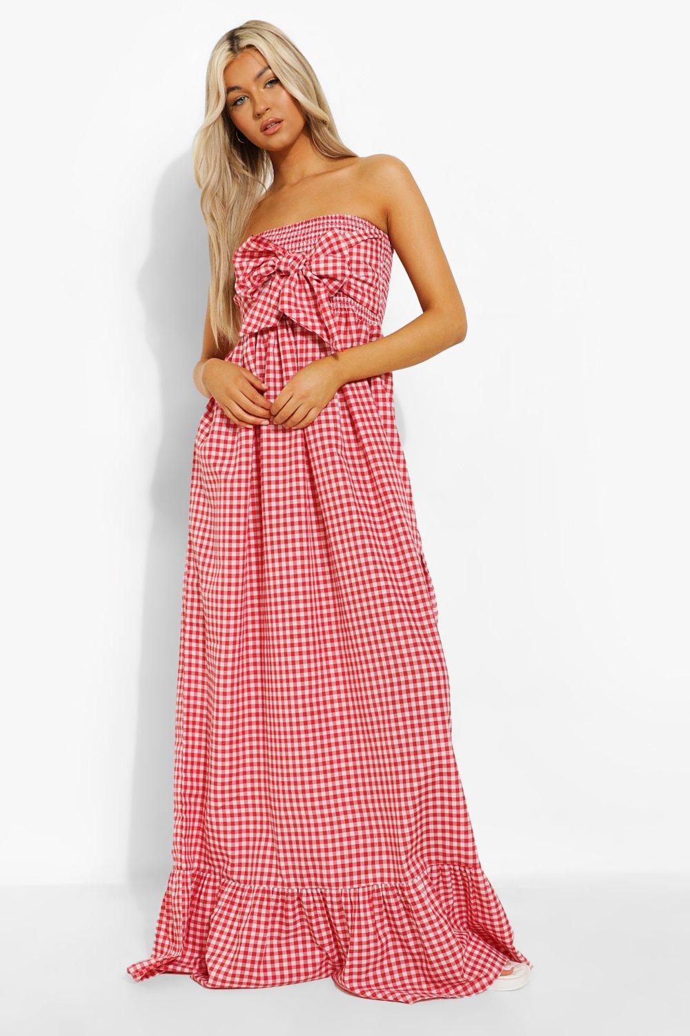 Boohoo Tall Gingham Knot Front Maxi Dress, Red