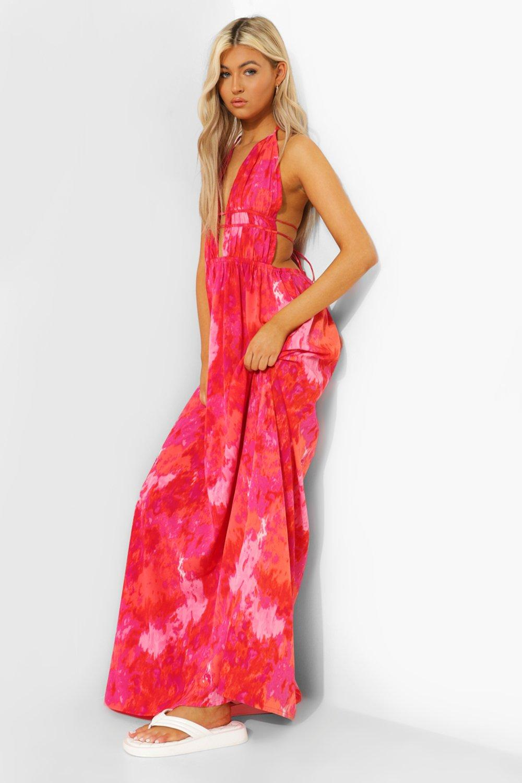 Boohoo Tall Tie Dye Plunge Front Maxi Dress