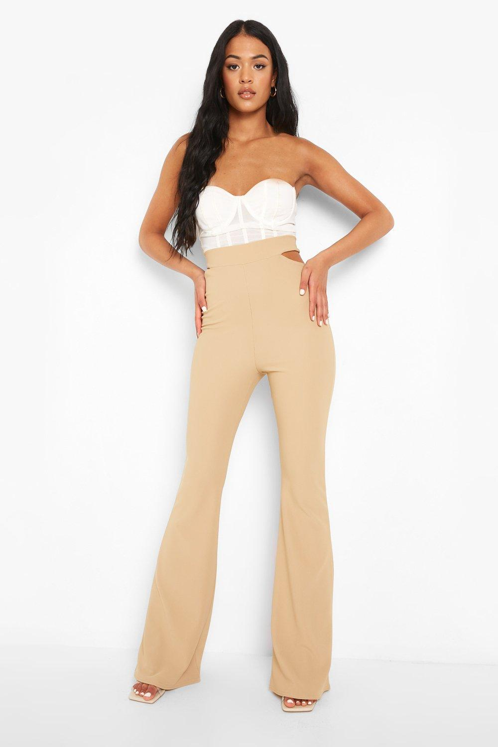 Womens Tall Gerippte Cut-Out Schlaghose - Stone - 40, Stone