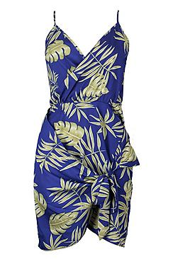 Tall Nicole Palm Print Wrap Shift Dress