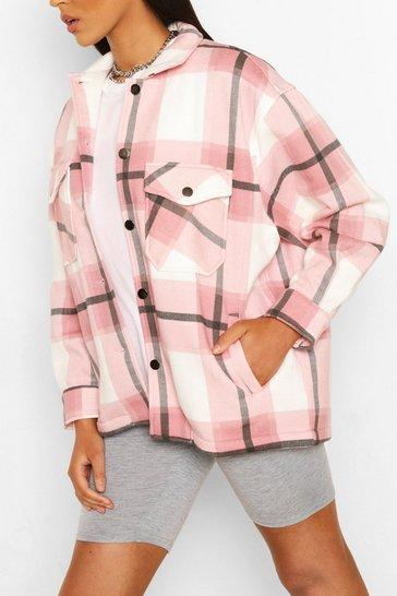 Pink Tall Check Shacket