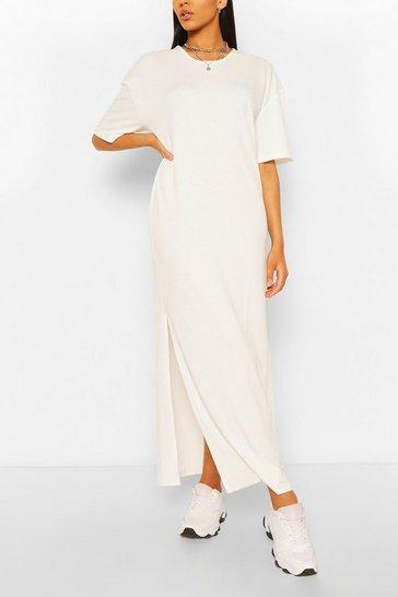 White Tall Scoop Neck Maxi T-Shirt Dress