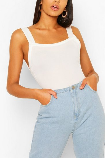 White Tall Basic Rib Square Neck Low Back Bodysuit