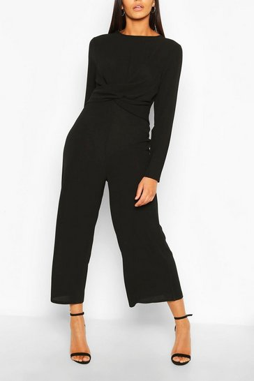 Black Tall Wrap Waist Culotte Jumpsuit