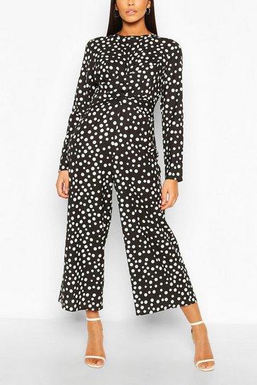 Black Tall Polka Dot Wrap Waist Culotte Jumpsuit
