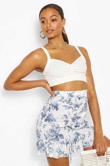 Ivory Tall Woven Spot Floral Print Ruched Skirt
