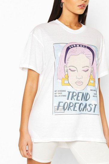 White Tall 'Trend Forecast' T-Shirt