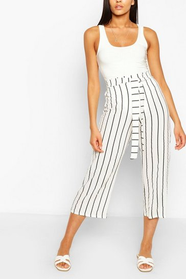 White Tall Belted Nautical Stripe Woven Culottes