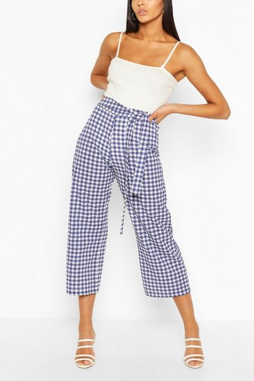 Navy Tall Gingham Belted Woven Culottes