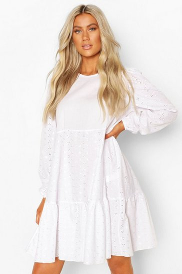 White Tall Broderie Anglaise Smock Dress