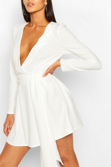 Ivory Tall Plunge Drape Detail Skater Dress