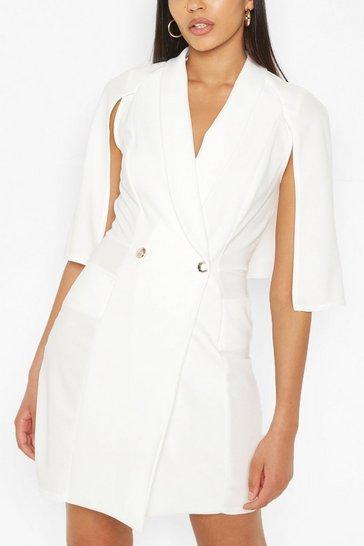 Ivory Tall Tailored Pocket Front Cape Blazer Dress