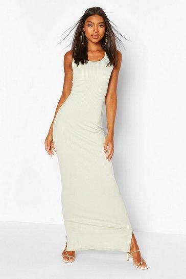 Sage Tall Basic Rib Scoop Neck Maxi Dress