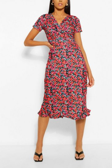 Red Tall Ditsy Floral Midi Tea Dress