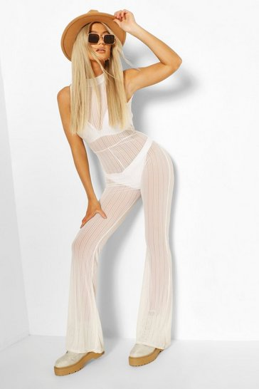 Ivory Tall Stripe Mesh High Neck Flared Jumpsuit