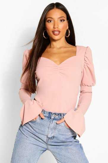 Rose Tall Puff Sleeve Ruched Front Top