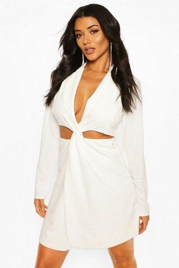Ivory Tall Knot Front Blazer Dress