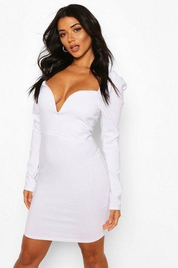 White Tall Plunge Puff Sleeve Mini Dress