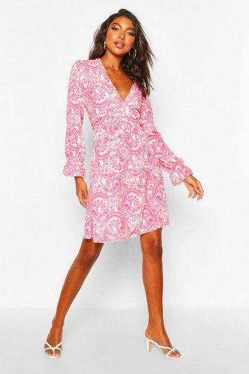 Red Tall Woven Paisley Tiered Skater Dress
