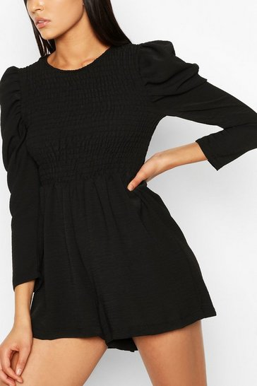 Black Tall Woven Shirred Detail Playsuit
