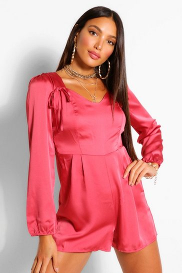 Rose Tall Satin Bow Detail Playsuit