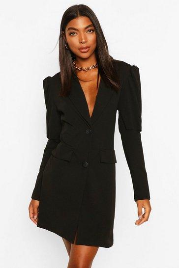 Black Tall Puff Sleeve Blazer Dress