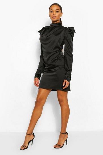 Black Tall Satin Puff Shoulder Tie Neck Dress