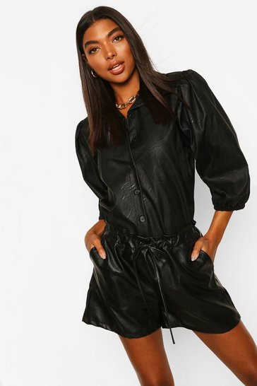 Black Tall PU Faux Leather Puff Sleeve Shirt