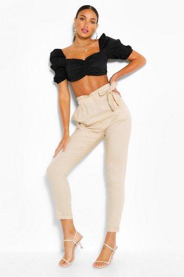 Stone Tall Cotton Poplin Drawcord Trousers