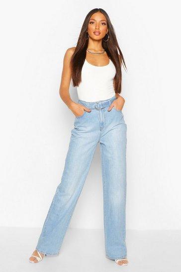 Blue Tall Denim High Waisted Belted Straight Leg Jeans