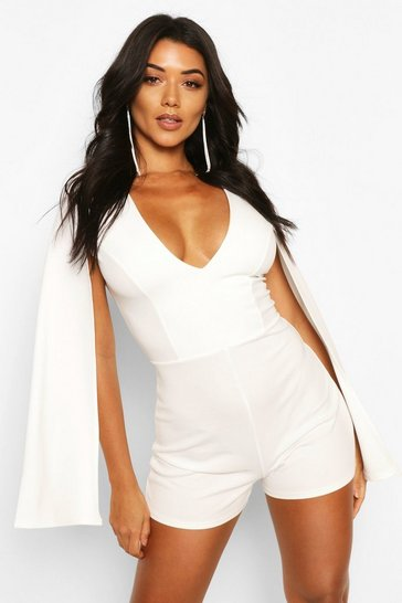 Ivory Tall Cape Plunge Front Playsuit