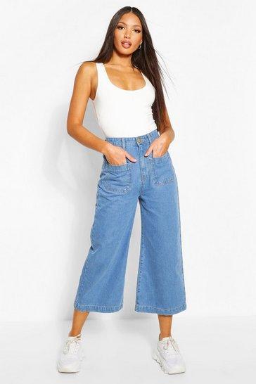 Light blue Tall Denim Front Pocket Culottes