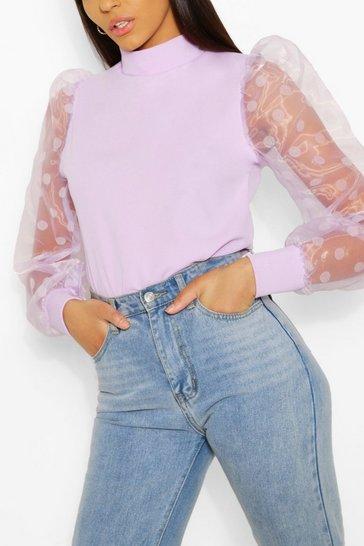 Lilac Tall Polka Dot Organza Sleeve Top