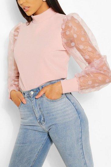 Pale pink Tall Polka Dot Organza Sleeve Top
