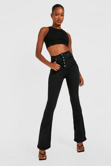 Black Tall Button Front High Waisted Flared Jeans