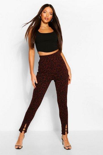 Tall Leopard Print Split Front Trousers